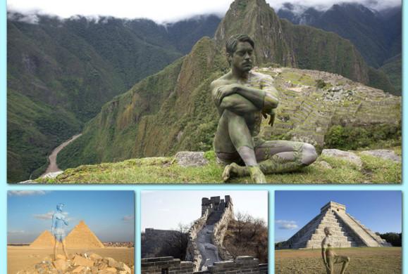 Pomalowany mężczyzna na tle najwspanialszych zabytków świata. Takich zdjęć z podróży jeszcze nie widzieliście