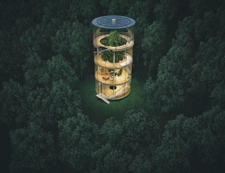 Oszałamiający szklany dom, wybudowany wokół drzewa. Odważysz się w nim zamieszkać?