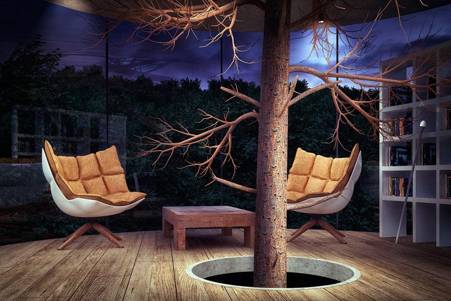 Oszałamiajacy szklany dom, wybudowany wokol drzewa1