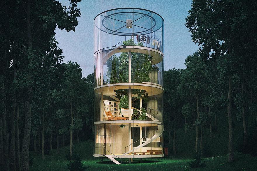Oszałamiajacy szklany dom, wybudowany wokol drzewa2