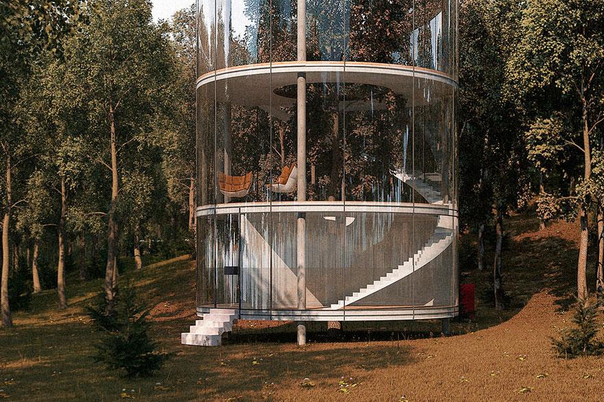 Oszałamiajacy szklany dom, wybudowany wokol drzewa3