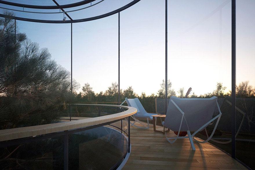 Oszałamiajacy szklany dom, wybudowany wokol drzewa4