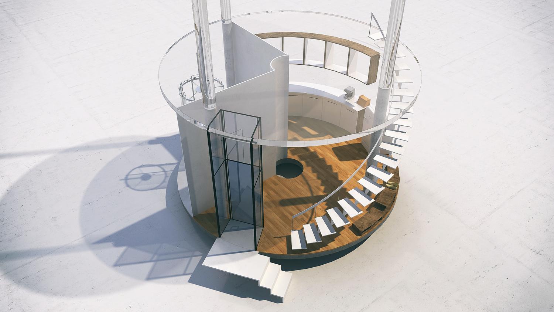 Oszałamiajacy szklany dom, wybudowany wokol drzewa7jpg