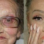 Wnuczka maluje swoją 80-letnią babcię. Takiej metamorfozy jeszcze nie widzieliście