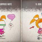 Ilustracje przedstawiające 15 zasad szczęśliwego i udanego związku