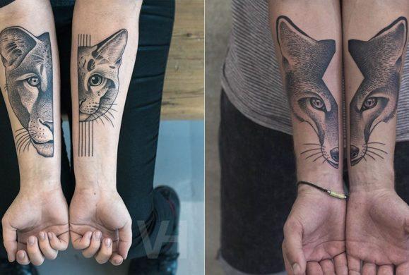 Symetryczne tatuaże autorstwa Valentina Hirsch. W tych wzorach znajdziesz idealną równowagę pomiędzy naturą, a geometrią